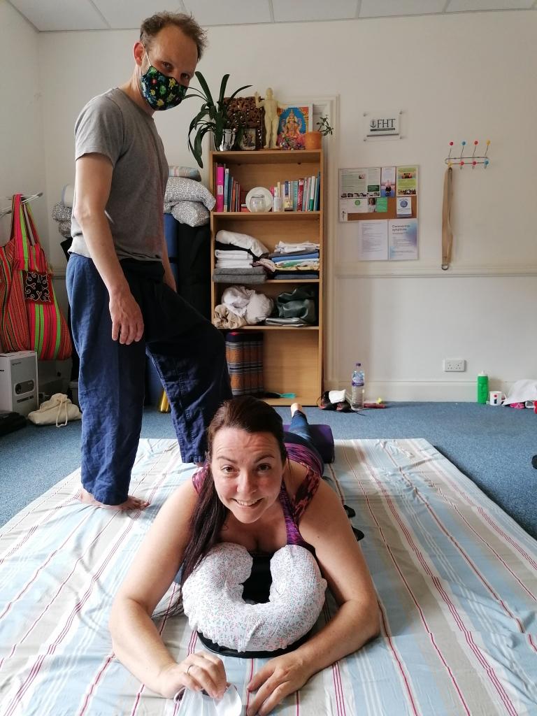 demontrating thai massage techniques